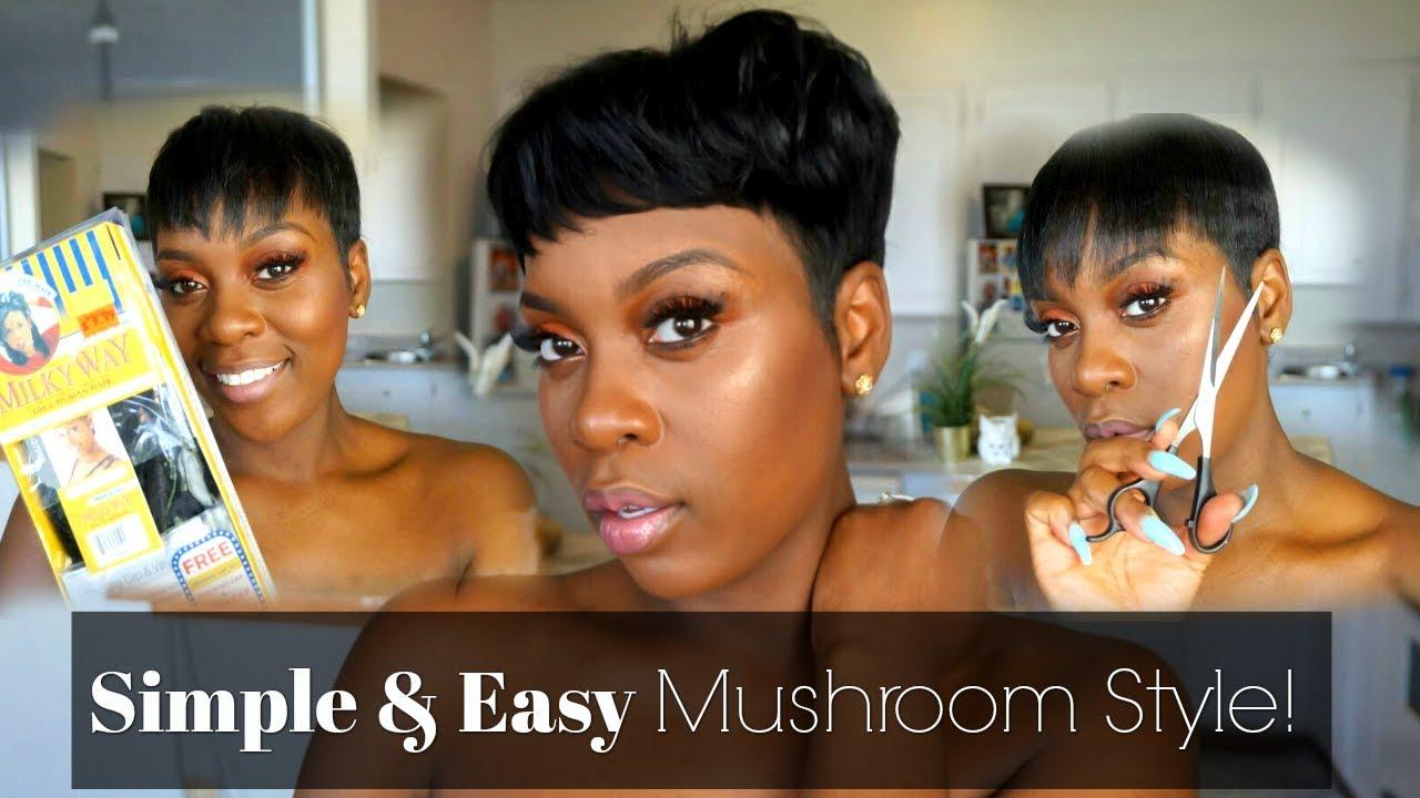 EASY MUSHROOM CUT STYLE!| SHORT HAIR TUTORIAL! - YouTube