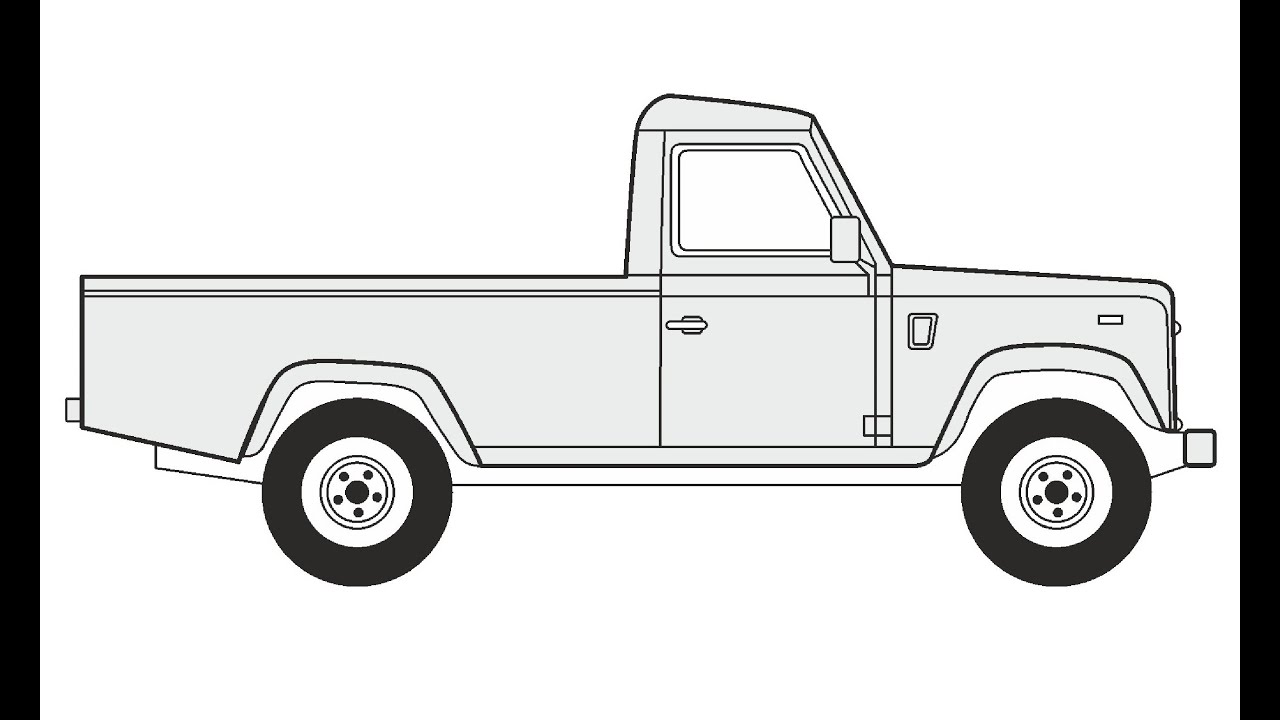 How to Draw a Land Rover Defender 110 Pickup Как нарисовать Land