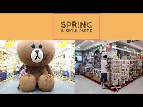 Spring in Seoul, Korea (Myeongdong EXO BTS TWICE SEVENTEEN Kpop Merch Shop, Line Store) VLOG