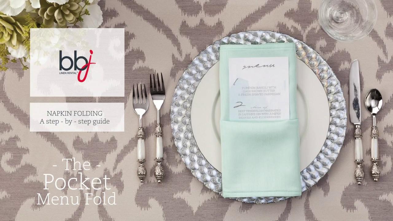 step by step pocket menu napkin folding guide youtube
