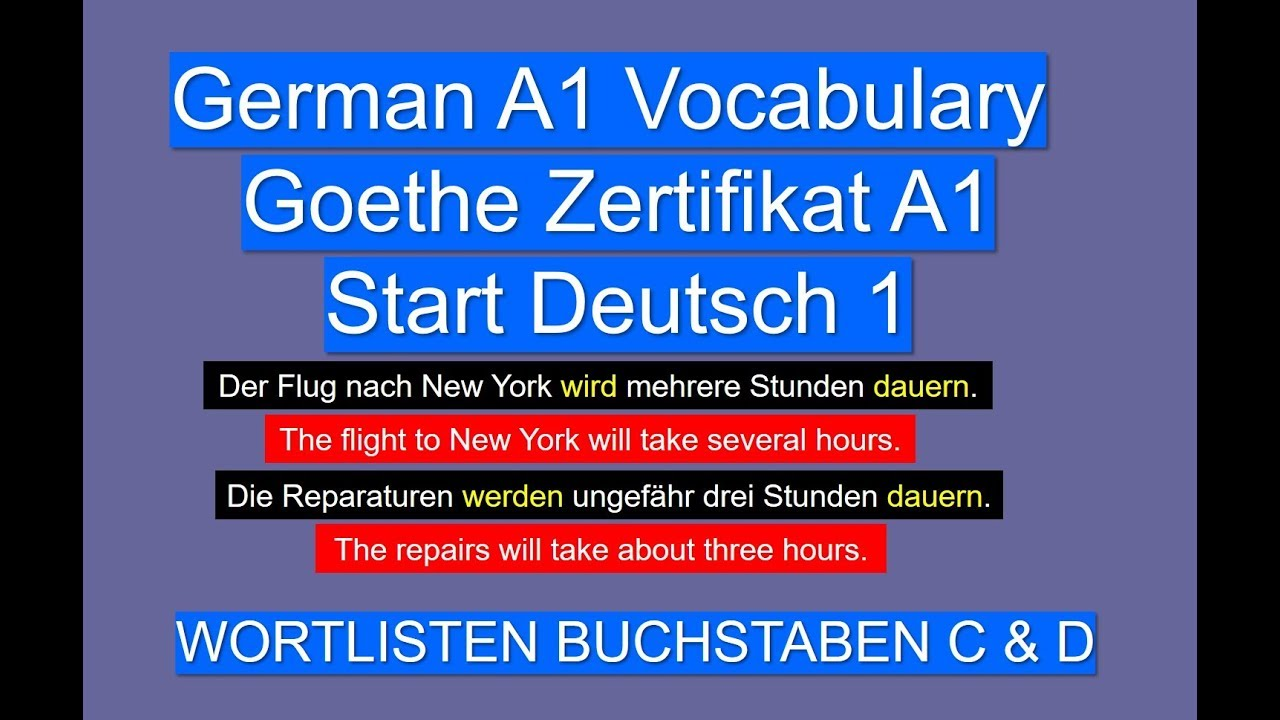 Deutsch A1 Wortschatz Wortliste Buchstaben C D Youtube
