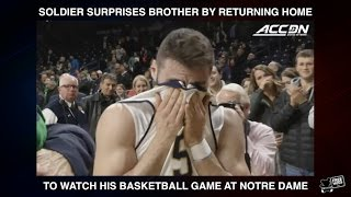 Soldier Surprises Brother at Notre Dame Basketball Game