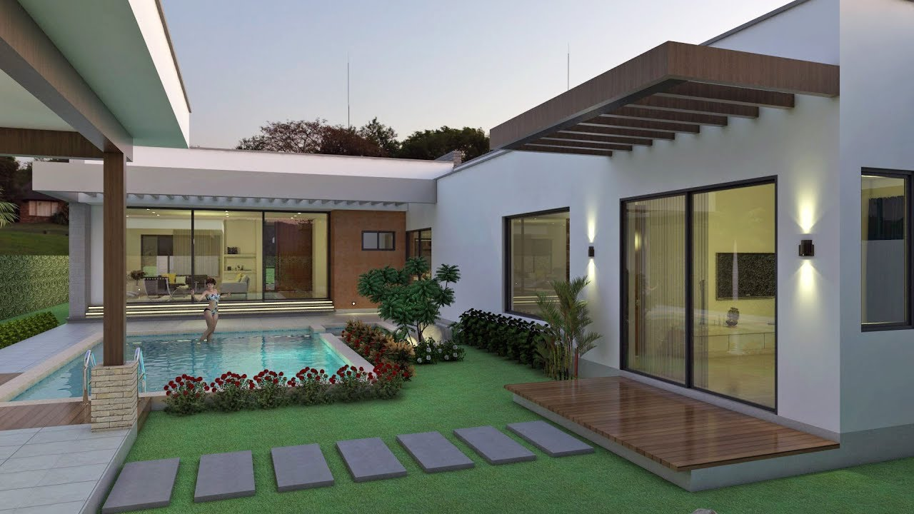 Planos de casa campestre moderna en forma de l 260 m2 for Casa moderna l