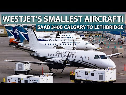 WESTJET'S SMALLEST AIRCRAFT! Saab 340B Calgary To Lethbridge With WestJet Link