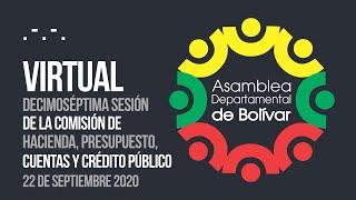 Decimoséptima Sesión Comisión de Hacienda, Presupuesto, Cuentas y Crédito Público - 22 Sept. 2020