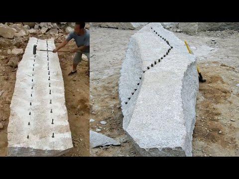 Amazing Fastest Stone Splitting Technique - Amazing Hand Granite Rock Mining Skill