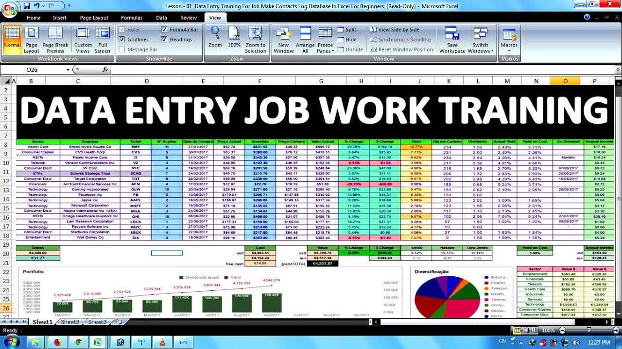 Data Entry Office Work Training For Job In Excel In Hindi Youtube