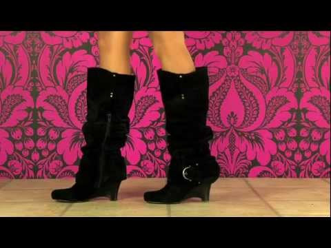 Naughty Monkey Rounded Up Suede Boot in Black