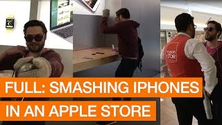 Angry Customer Smashes iPhones With Metal Ball In Apple Store (Storyful, Crazy)