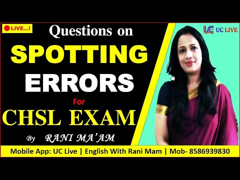 🔴 Live! 👉 Questions on SPOTTING ERRORS For CHSL Exam   PYQ   Common Error Detection By Rani Ma'am
