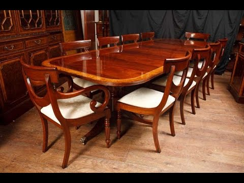 Regency Pedestal Dining Table & Set Swag Chairs