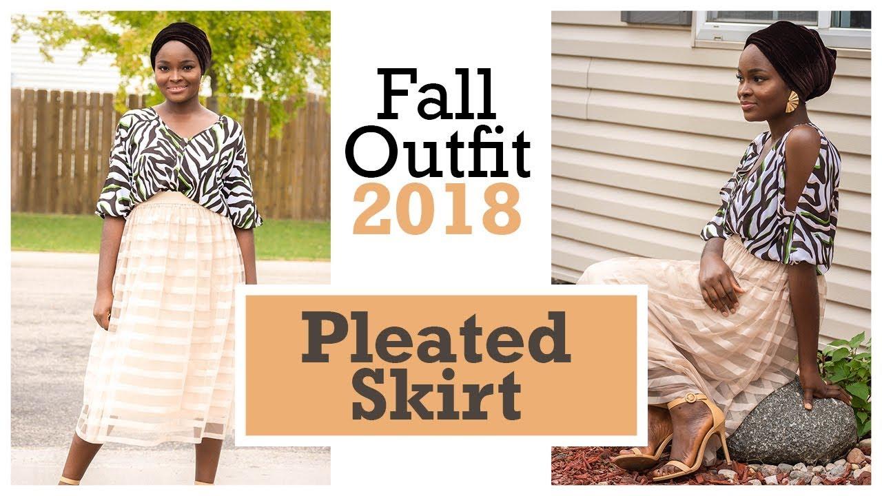 Fall/Autumn Outfit Idea 2018 | Pleated Skirt