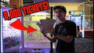 MY BIGGEST ARCADE JACKPOT YET!!! (8,000 TICKETS)
