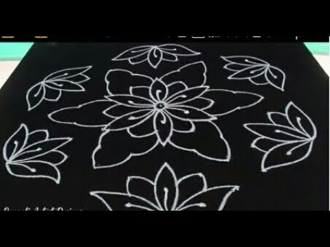 11x6 dotted rangoli design sketch/ very easy and simple ...