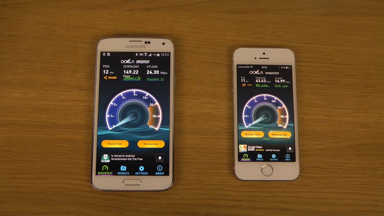 IPHONE 5C VS SAMSUNG GALAXY S5 SPEED TEST
