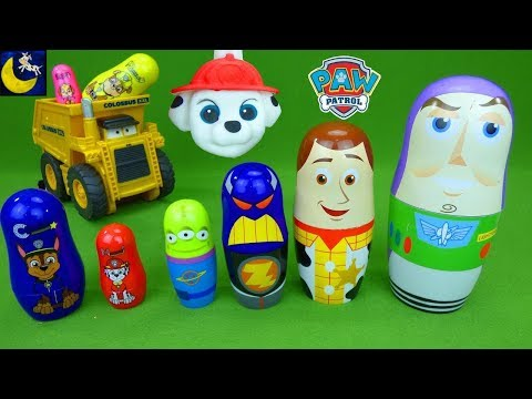 Paw Patrol and Toy Story Surprise Toys! Colossus XXL Disney Cars Squishy Best Toys Video for Kids