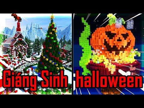 Thử Thách Xây Nhà HALLOWEEN VÀ GI�NG SINH Nào �ẹp Nhất Trong Minecraft