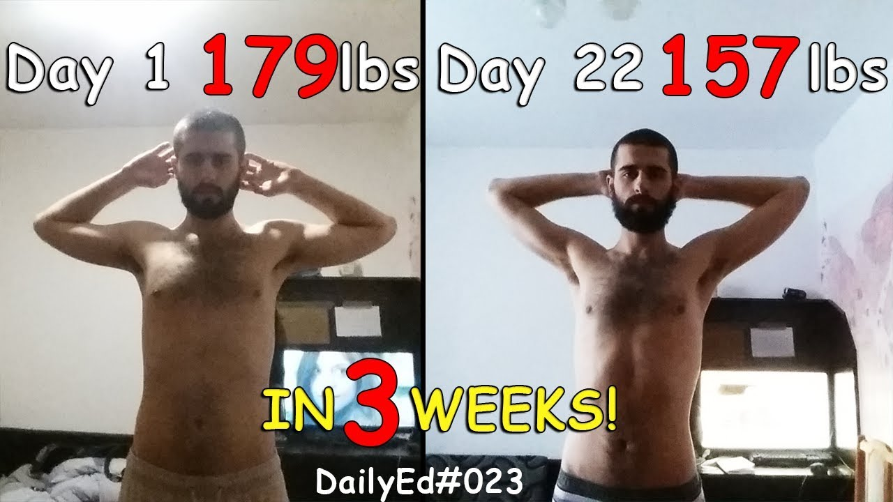 How I lost 22 lbs in 21 days BEFORE AND AFTER Results! Water Fasting for 21  Days DailyEd #023