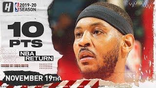 Carmelo Anthony BLAZERS DEBUT Full Highlights vs Pelicans (2019.11.19) - 10 Pts, 4 Reb!