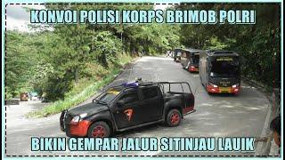 Download Konvoi Mobil Polisi Korps Brimob Bikin Gempar Jalur Sitinjau Lauik