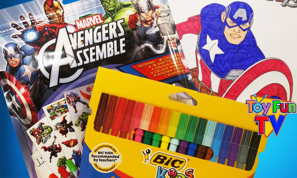 avengers assemble captain america coloring color book activity pack opening colour youtube
