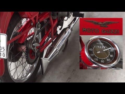 Moto Guzzi Falcone 1954 [HD] kick start - exhaust sound
