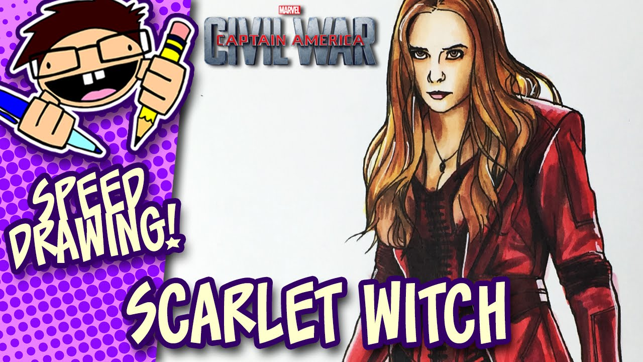 Speed Drawing Scarlet Witch Captain America Civil War Youtube
