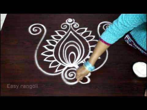 creative and beautiful freehand easy peacock rangoli designs || kolam designs || Ugadi muggulu