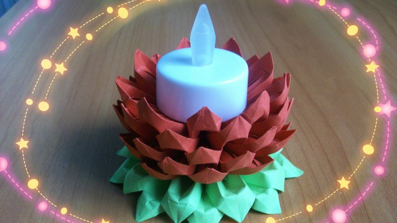 Diy diwali decoration idea paper flower candle stand for Diy paper lotus candlestick