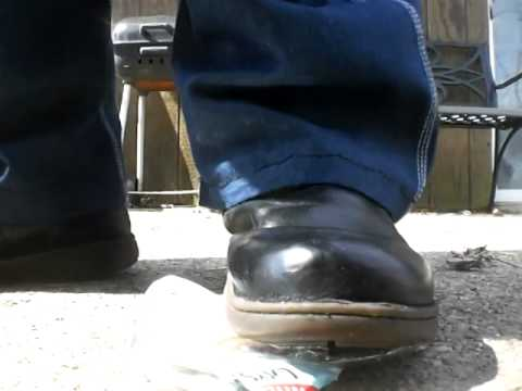 Ugg boot crunch on a water jug