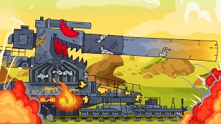 Tank attacks the train. World of tanks cartoon. Monster Trucks Cartoon for children. Tank animation.