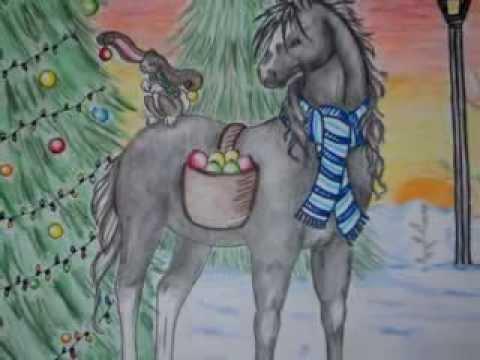 Christmas Horse Drawing.Thanksgiving Christmas Horse Drawings