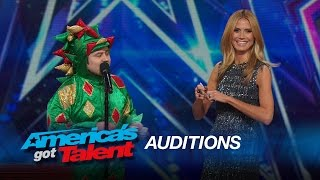 Piff the Magic Dragon: Heidi Klum Helps Comedic Magician in Dragon Suit - America's Got Talent 2015