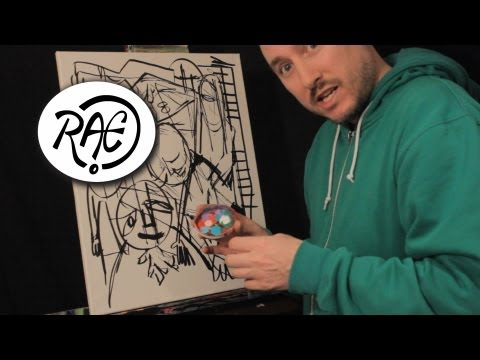 HOW TO PAINT ABSTRACT EXPRESSIONISM in ACRYLIC PAINT by RAEART