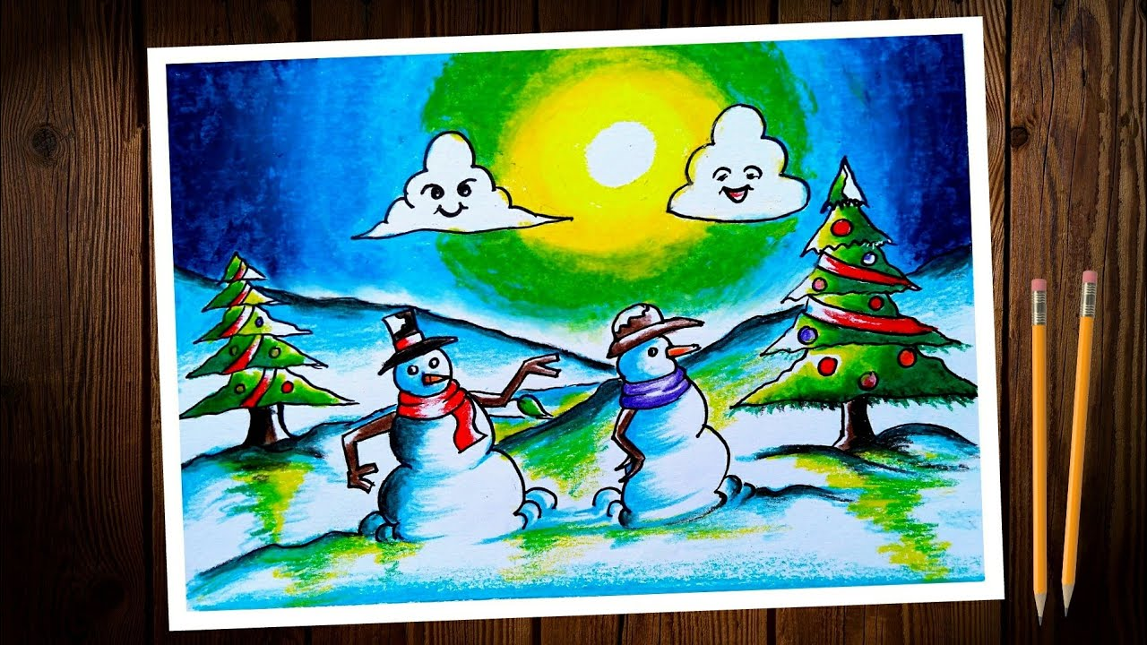 Christmas day / chart poster drawing. Christmas day scenery drawing. Christmas day poster making.