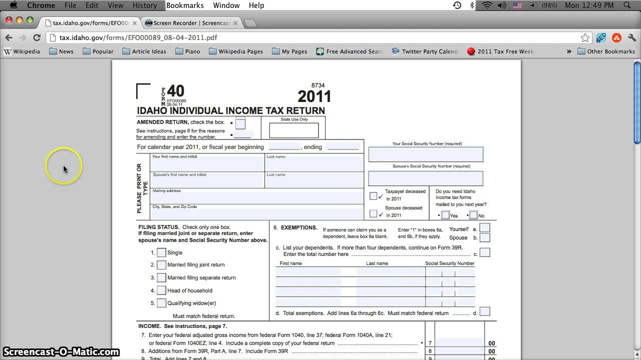 Idaho Printable Tax Forms 2012 - Individual Income Tax Return Form ...