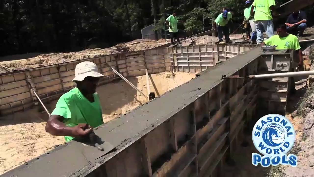 Cement wall pool construction by seasonal world youtube - Cinder block swimming pool construction ...