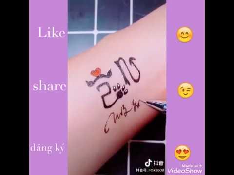 [王俊凯] Hình vẽ xăm tay chữ || 凯 || trong || 王俊凯 || Cực xinh