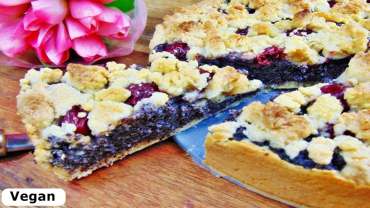 Rezept Streuselkuchen Mit Mohnfullung Und Kirschen Vegan Rezept
