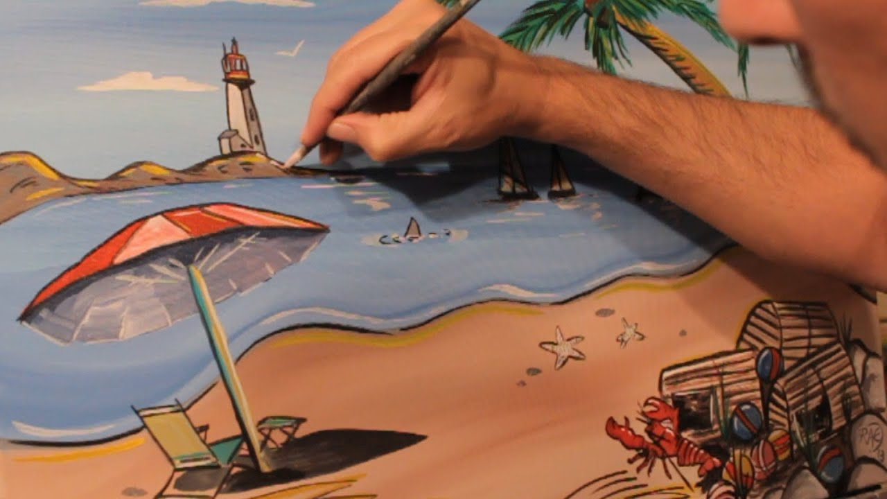 HOW TO PAINT A Beach Painting PALM TREES BOATS LANDSCAPE ART Time Lapse