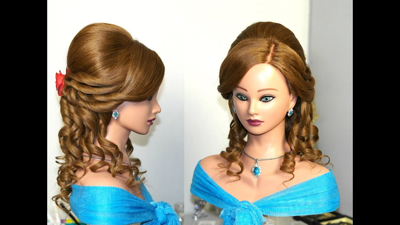 Prom bridal hairstyle for medium long hair with curls
