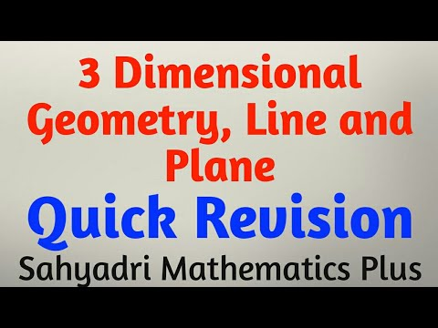 Three Dimensional Geometry, Line & Plane   Quick Revision with PYQS   MHT-CET   Part-1