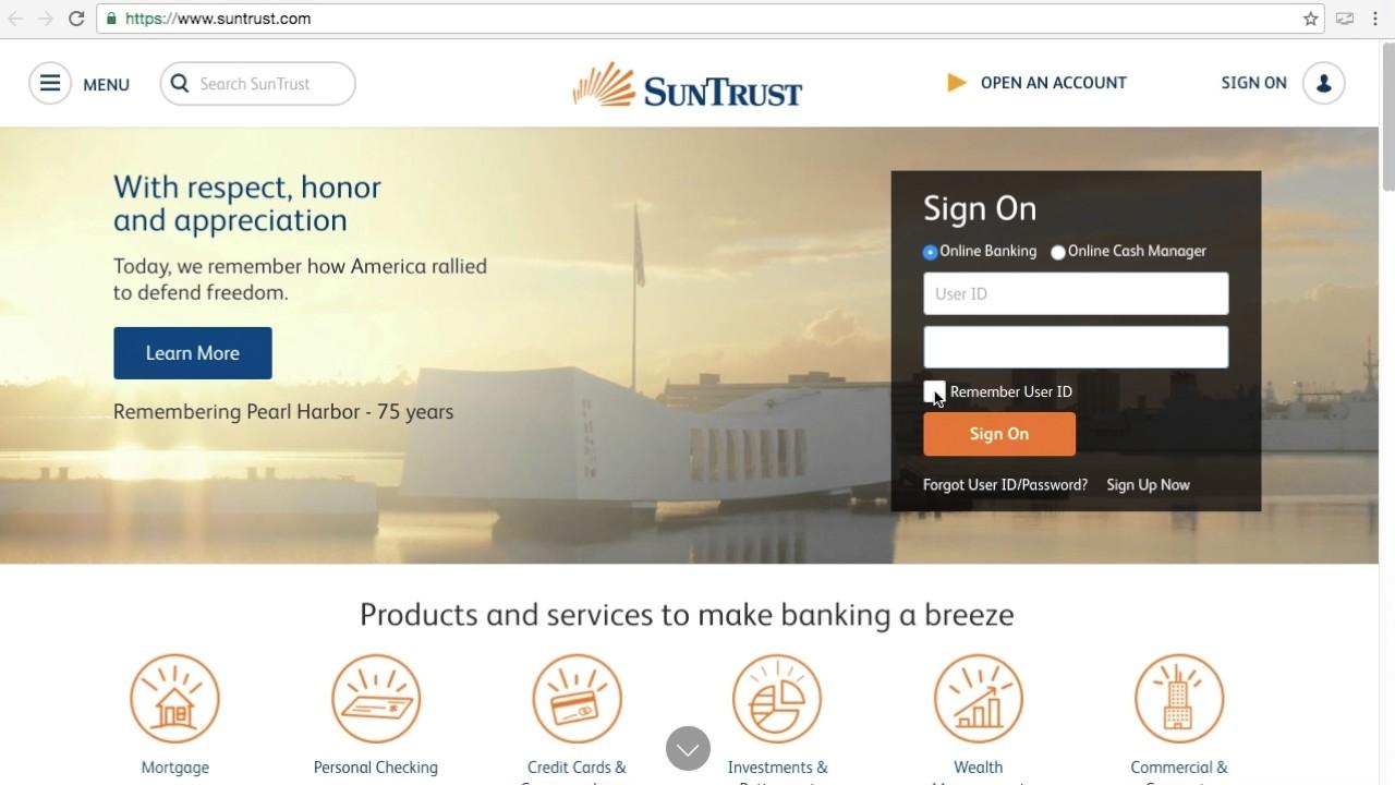Suntrust Bank Online Banking Sign Up