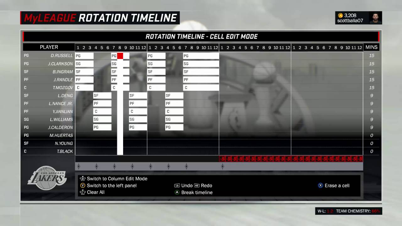 NBA 2K17: MyLeague - How to Use the Rotation Timeline with Shorter Quarters
