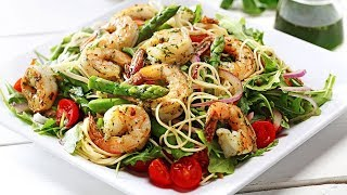 Pasta With Lemon Basil Oil, Grilled Prawns, Asparagus And Cherry Tomatoes