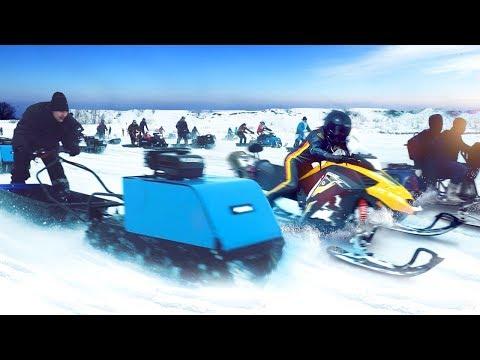 видео: Большая битва мотособак и снегоходов 2019