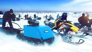 большая битва мотособак и снегоходов 2019
