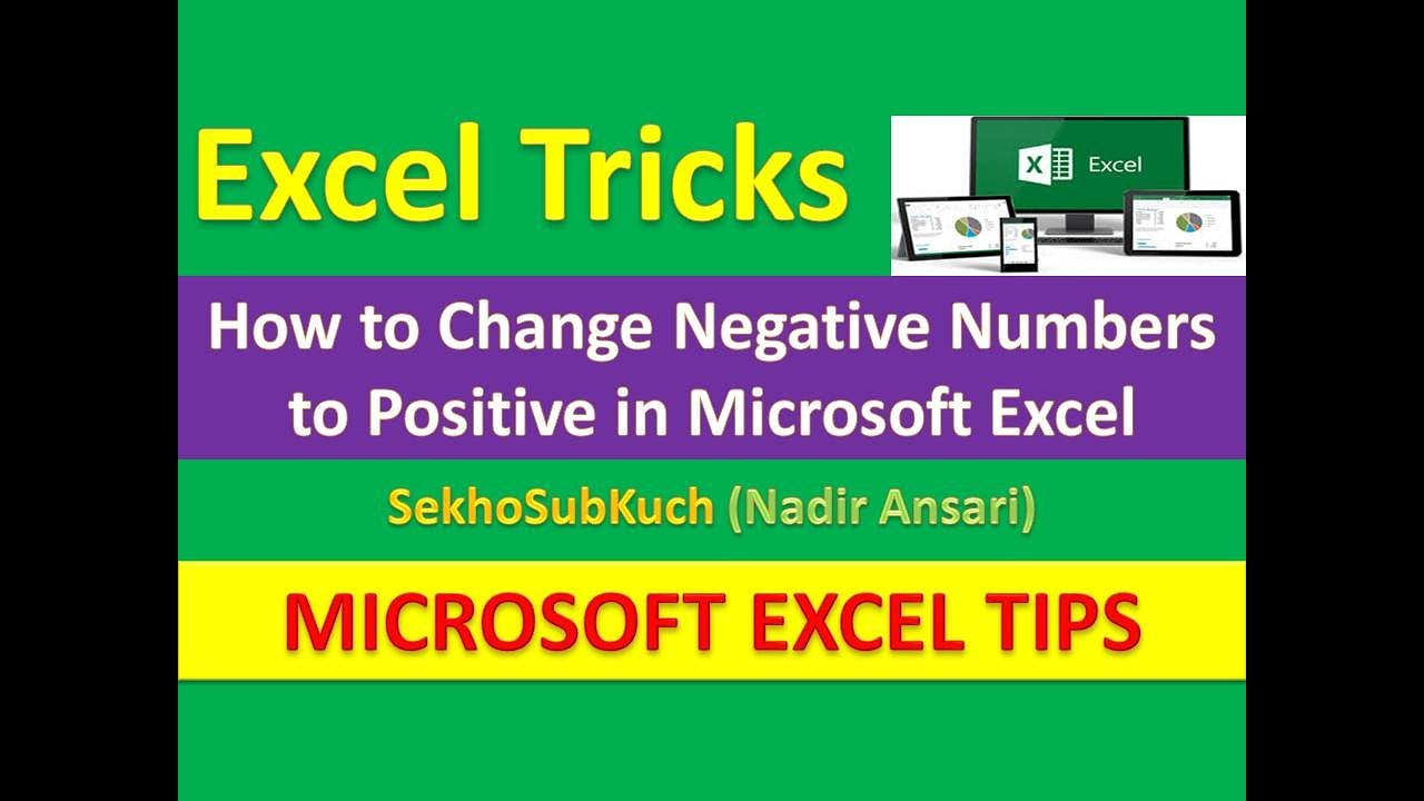 How to make an excel column negative - How To Change Negative Numbers To Positive In Excel Excel Tips And Tricks Urdu Hindi