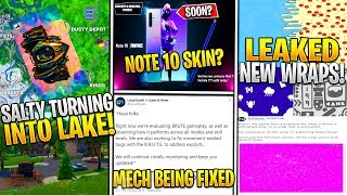 * NUEVO* Fortnite: SALTY Turning Into LAKE, Note 10 Skin Tonight, 4 Leaked Wraps, Middle East Servers!