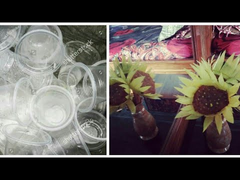 Beautiful DIY sunflower by using plastic glasses||best reuse of wastage||Home Decor